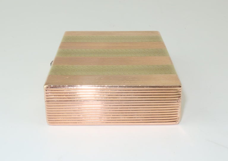 Rose Cut Cartier 14K Rose Gold & Diamond Box For Sale