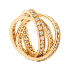 Cartier 1.55 Carat Diamond Trinity Rolling Ring in 18k Yellow Gold