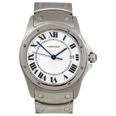 Cartier 1561 Santos Ronde Stainless Steel White Dial Watch