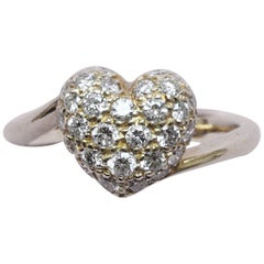 Cartier 18 Carat Gold and Diamond Heart Ring