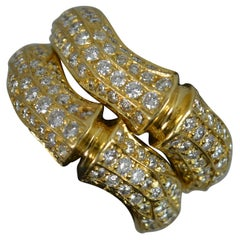 Cartier 18 Carat Gold and Vs Diamond Double Bamboo Cluster Band Ring