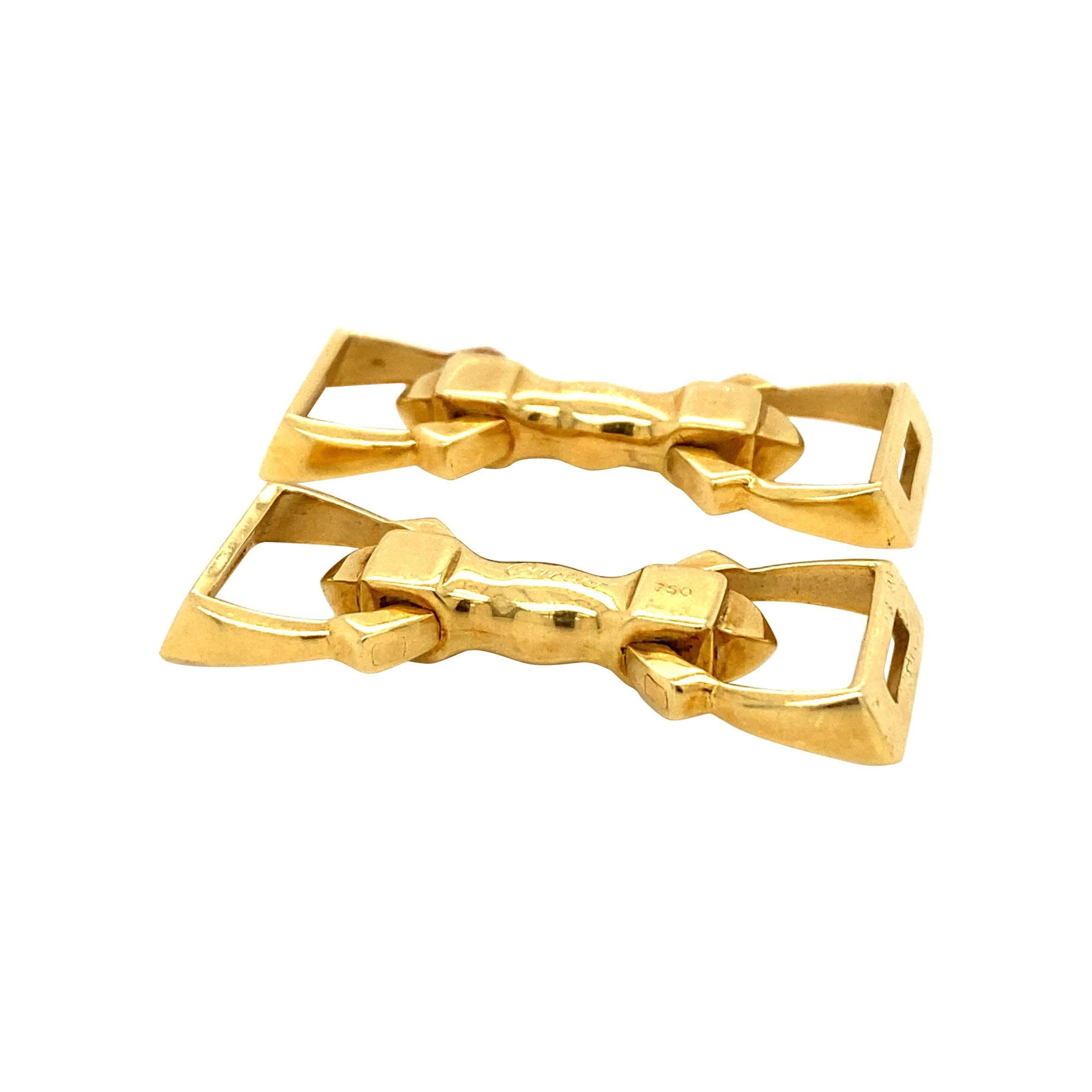 Cartier 18 Carat Gold Stirrup Cufflinks, circa 1935