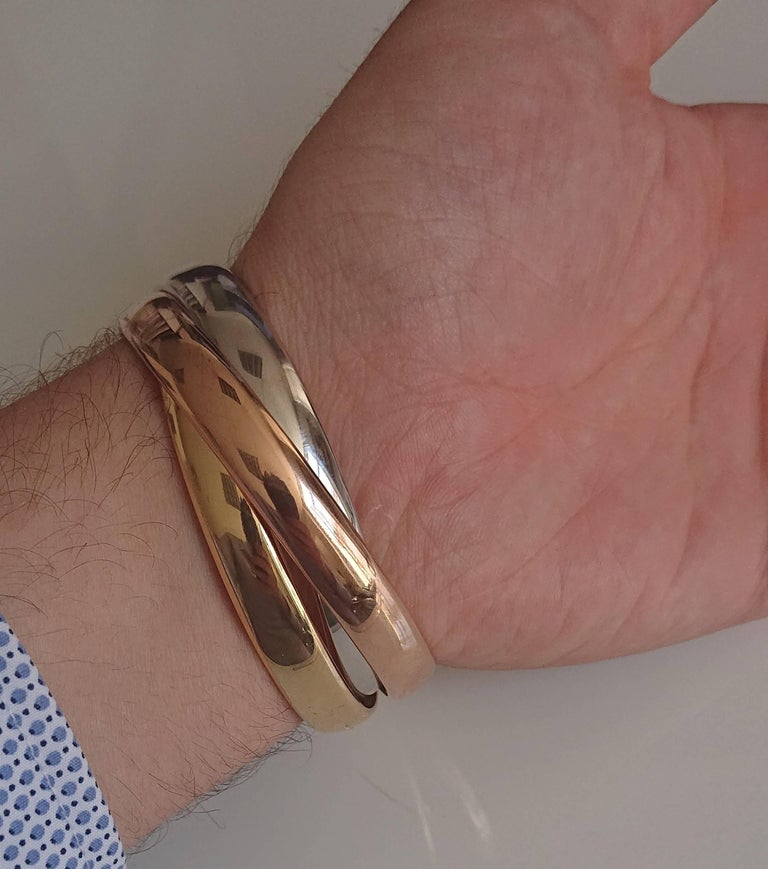 Cartier 18 Carat Rose Gold, Yellow Gold and White Gold Trinity Bangle In Excellent Condition For Sale In London, GB