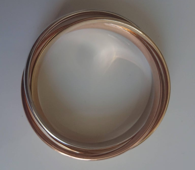 Cartier 18 Carat Rose Gold, Yellow Gold and White Gold Trinity Bangle For Sale 1