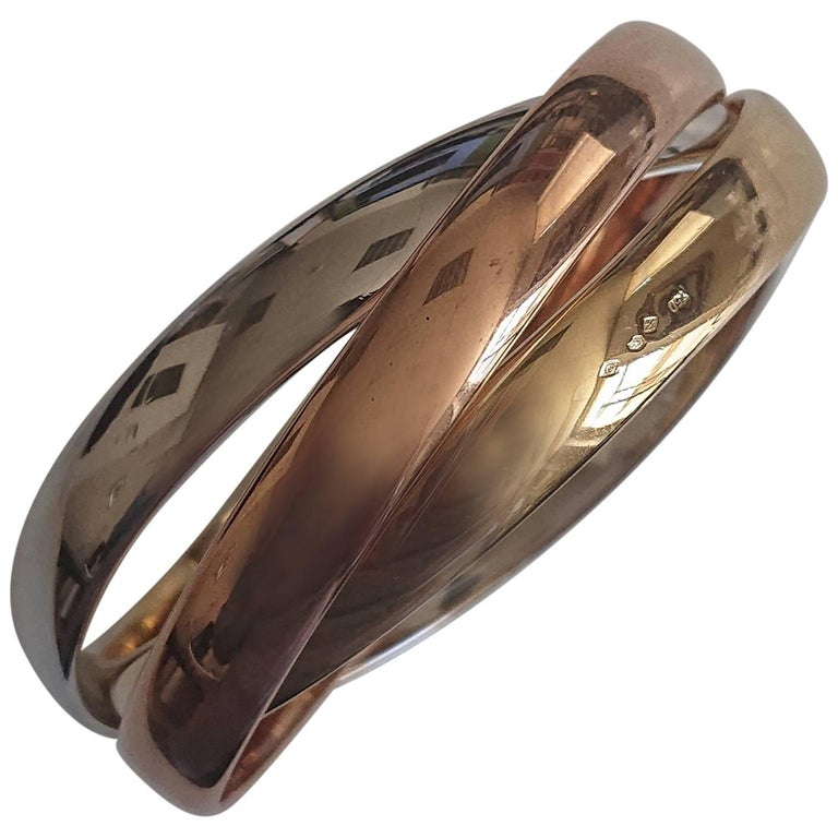 Cartier 18 Carat Rose Gold, Yellow Gold and White Gold Trinity Bangle For Sale