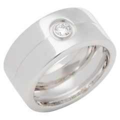 Cartier 18 Carat White Gold Single Diamond Trinity Ring