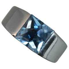 Cartier 18 Carat White Gold Topaz Tank Signet Ring