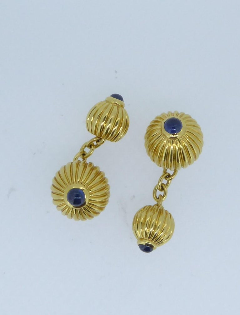 Cartier 18 Carat Yellow and Blue Sapphire Melon Bead Cufflinks In Good Condition For Sale In London, GB