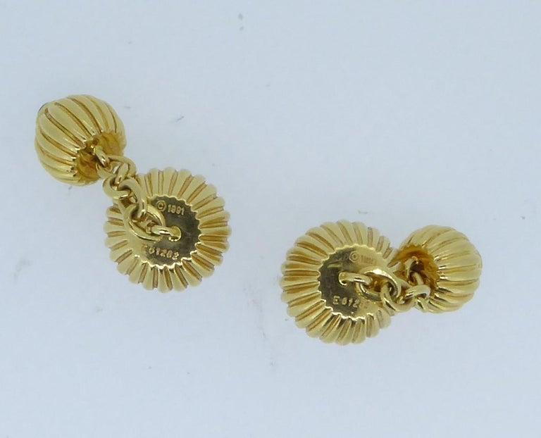 Women's or Men's Cartier 18 Carat Yellow and Blue Sapphire Melon Bead Cufflinks For Sale
