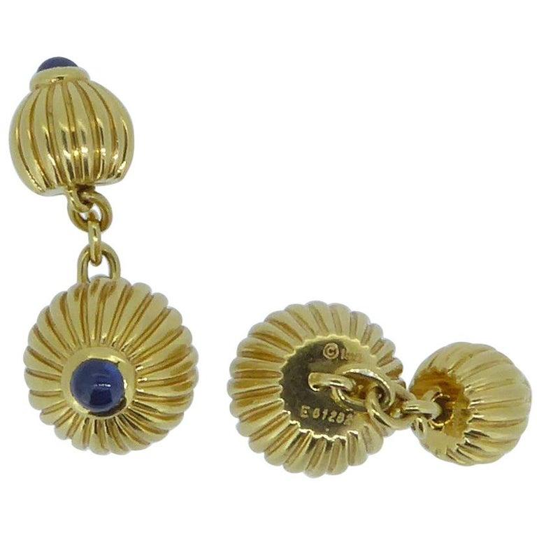 Cartier 18 Carat Yellow and Blue Sapphire Melon Bead Cufflinks For Sale