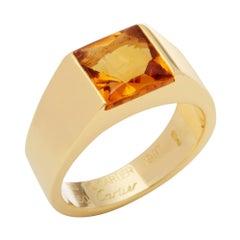 Cartier 18 Carat Yellow Gold Citrine Tank Ring