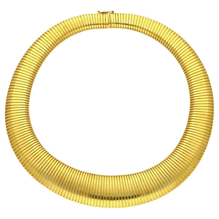 Cartier 18 Carat Yellow Gold Wide Flattened Gas-Pipe Style Necklace, circa 1950s For Sale