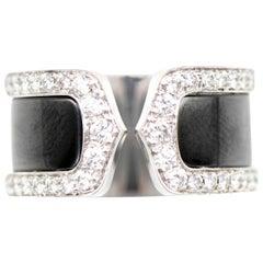 Cartier 18 Karat Double C Diamond Titanium Ring