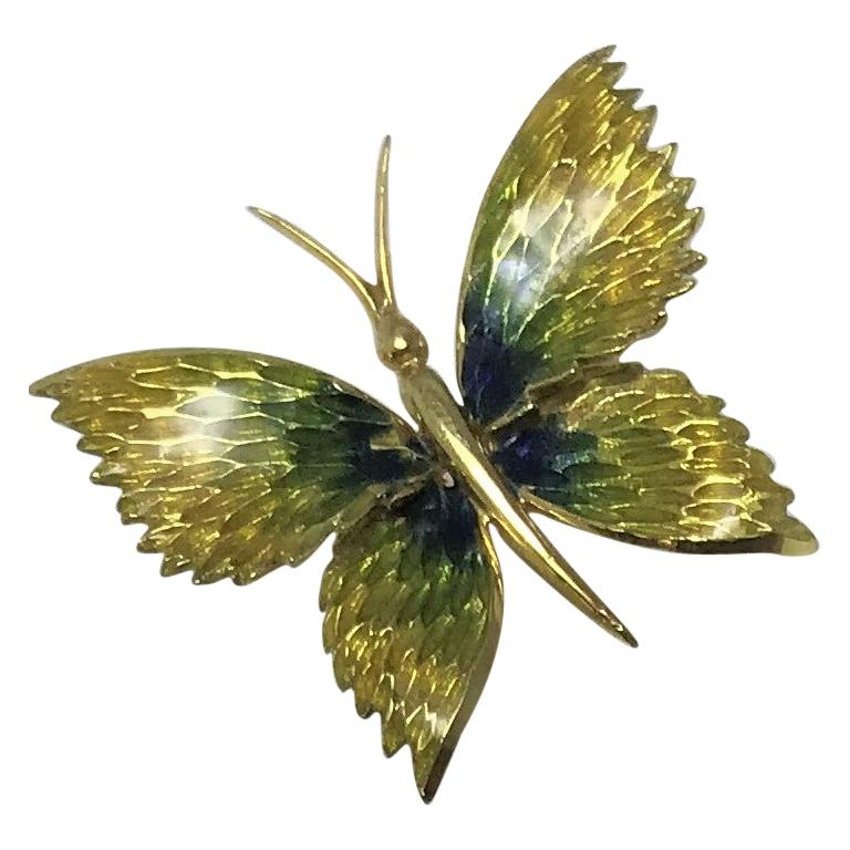 Cartier 18 Karat Enamel Butterfly Brooch For Sale