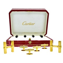 Cartier 18 Karat French Dress Set in Gold, Onyx and Rock Crystal, circa 1960