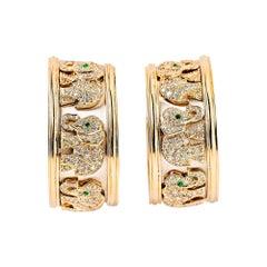 Cartier 18 Karat Gold and Diamond Walking Elephant Ear Clips