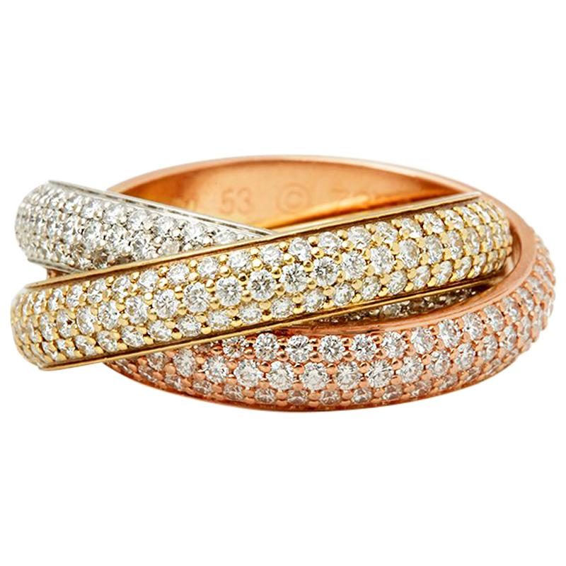 Cartier 18 Karat Gold Diamond Classic Trinity Ring
