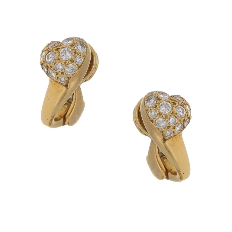 Cartier 18 Karat Gold Diamond Heart Clip-On Earrings