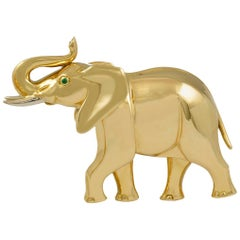 Cartier 18 Karat Gold Elephant Brooch