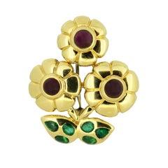 Cartier 18 Karat Gold Flower Brooch with Rubies and Emeralds