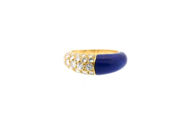 Modern  Cartier 18 Karat Gold Lapis Diamond Band Ring For Sale
