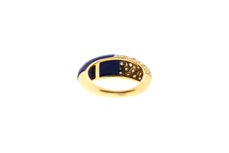 Cartier 18 Karat Gold Lapis Diamond Band Ring In Good Condition For Sale In New York, NY