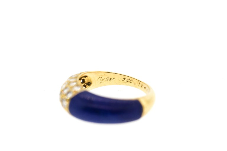 Women's or Men's  Cartier 18 Karat Gold Lapis Diamond Band Ring For Sale