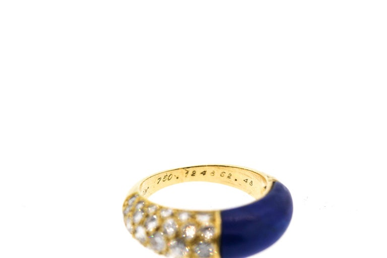 Cartier 18 Karat Gold Lapis Diamond Band Ring For Sale 1
