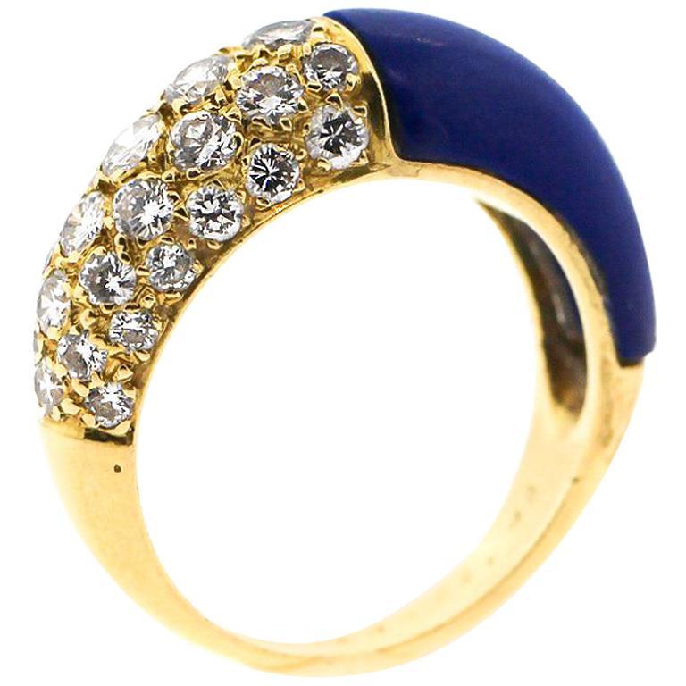 Cartier 18 Karat Gold Lapis Diamond Band Ring For Sale