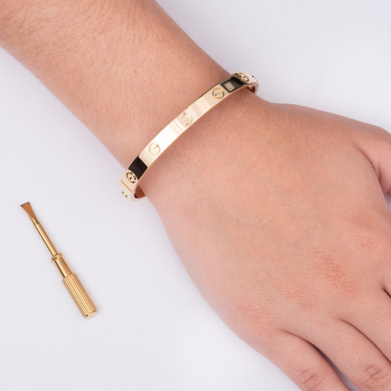 Cartier 18 Karat Gold Love Bracelet with Screwdriver and All Original Papers In Good Condition For Sale In Houston, TX