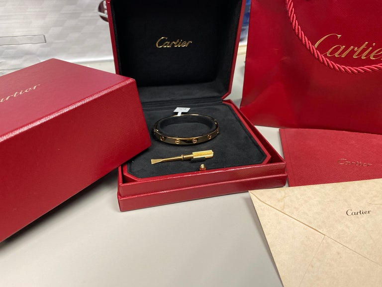 Cartier 18 Karat Gold Love Bracelet with Screwdriver and All Original Papers For Sale 3