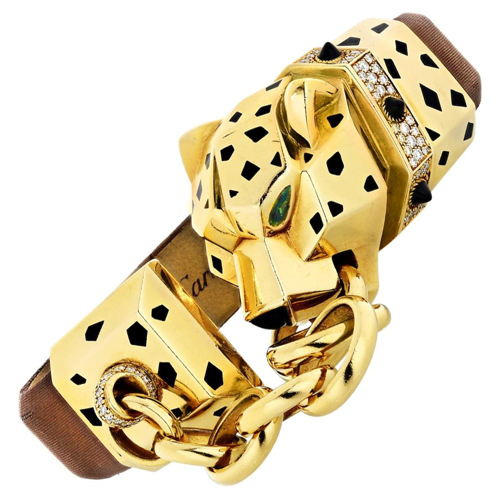 Cartier 18 Karat Gold Panthere Diamond Onyx and Enamel Bracelet