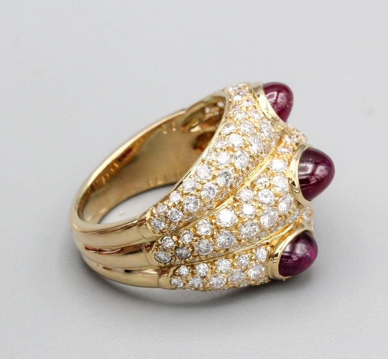 Round Cut Cartier 18 Karat Gold Ruby Diamond Dome Ring For Sale