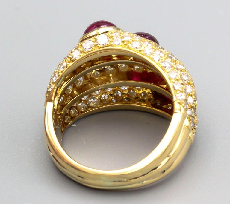 Cartier 18 Karat Gold Ruby Diamond Dome Ring In Good Condition For Sale In New York, NY