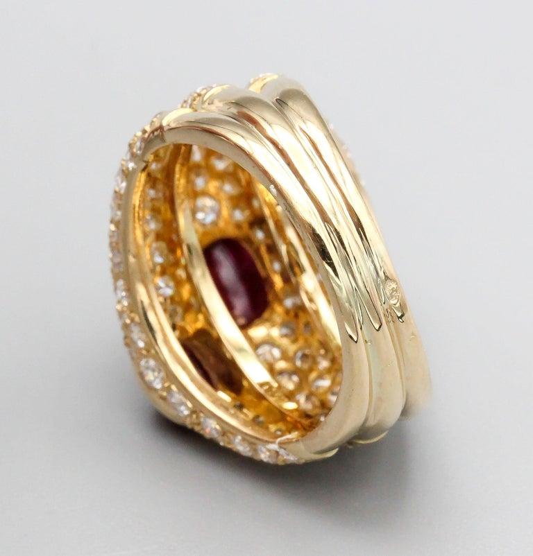Women's Cartier 18 Karat Gold Ruby Diamond Dome Ring For Sale