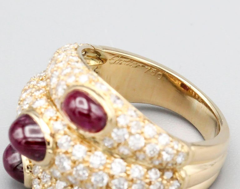 Cartier 18 Karat Gold Ruby Diamond Dome Ring For Sale 1