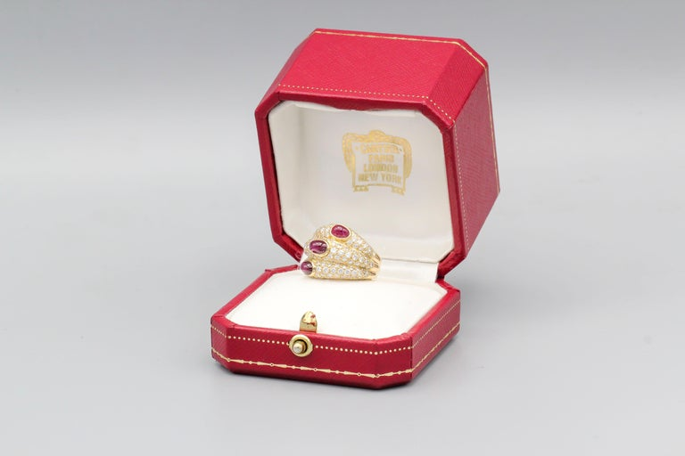 Cartier 18 Karat Gold Ruby Diamond Dome Ring For Sale 2