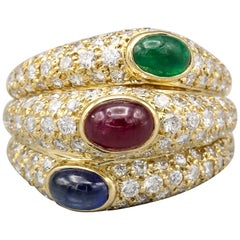 Cartier 18 Karat Gold Sapphire Ruby Emerald Diamond Ring