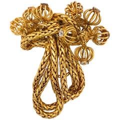 Cartier 18 Karat Gold Tassel Brooch