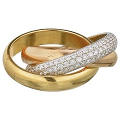 Cartier 18 Karat Gold Tri-Color Trinity Diamond Ring