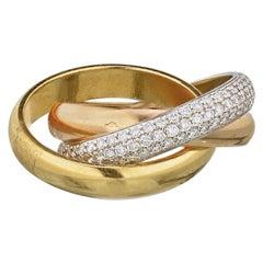 Cartier 18 Karat Gold Tri-Color Trinity Diamond Ring