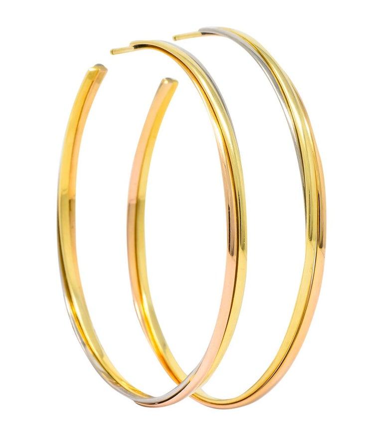 Modernist Cartier 18 Karat Gold Tri-Gold Trinity Hoop Earrings For Sale