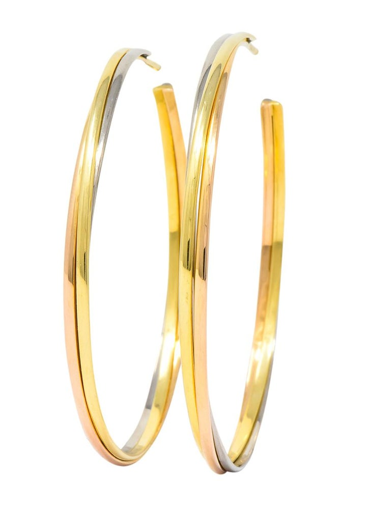 Cartier 18 Karat Gold Tri-Gold Trinity Hoop Earrings In Excellent Condition For Sale In Philadelphia, PA