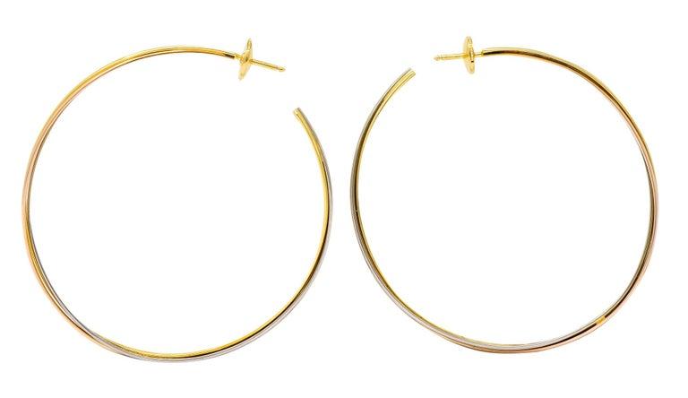 Women's or Men's Cartier 18 Karat Gold Tri-Gold Trinity Hoop Earrings For Sale