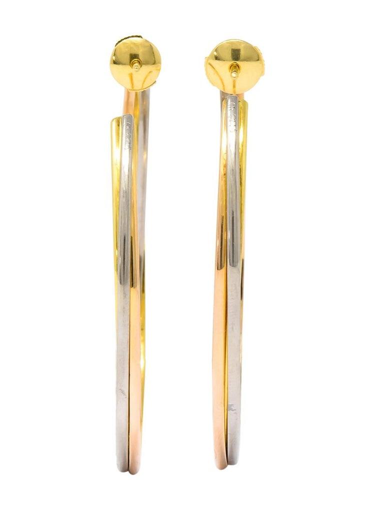 Cartier 18 Karat Gold Tri-Gold Trinity Hoop Earrings For Sale 1