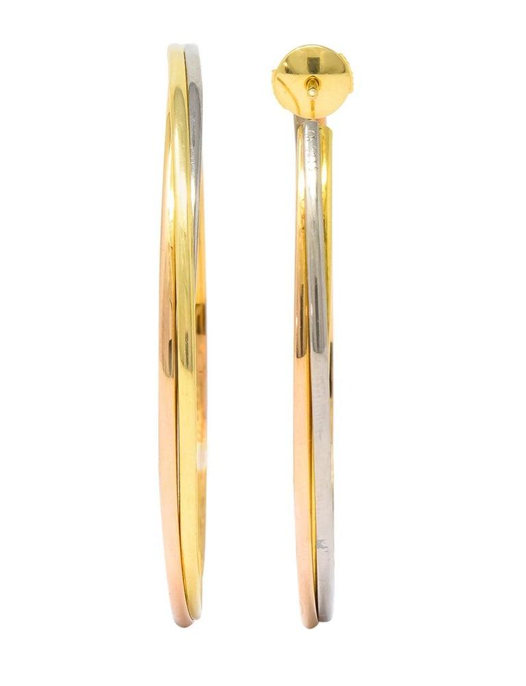 Cartier 18 Karat Gold Tri-Gold Trinity Hoop Earrings For Sale 2