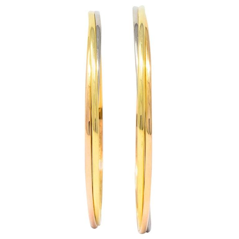Cartier 18 Karat Gold Tri-Gold Trinity Hoop Earrings For Sale