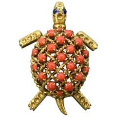 Cartier, 18 Karat Gold Turtle Brooch with Natural Coral and Blue Sapphires