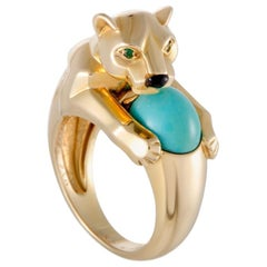 Cartier 18 Karat Gold Vintage Panthere Turquoise Onyx and Emerald Ring
