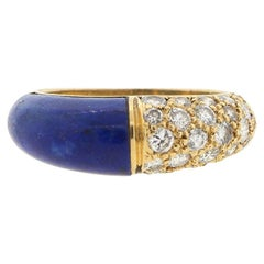 Cartier 18 Karat Lapis Diamond Band Ring